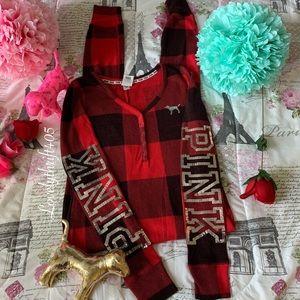 Victoria's Secret Bling Plaid Onesie Pajama